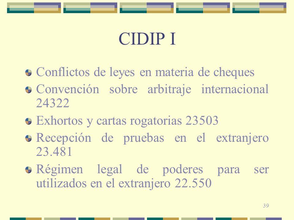 CIDIP I Conflictos de leyes en materia de cheques