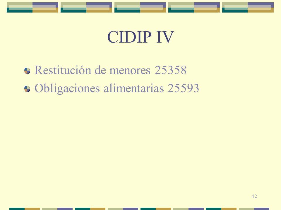 CIDIP IV Restitución de menores 25358 Obligaciones alimentarias 25593