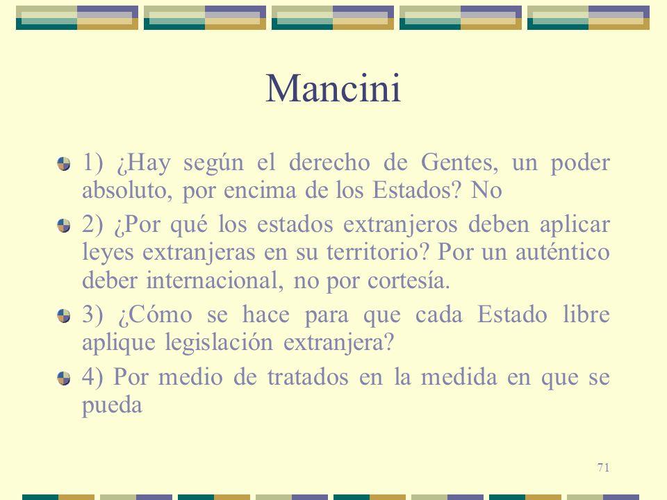 Mancini 1) ¿Hay según el derecho de Gentes, un poder absoluto, por encima de los Estados No.
