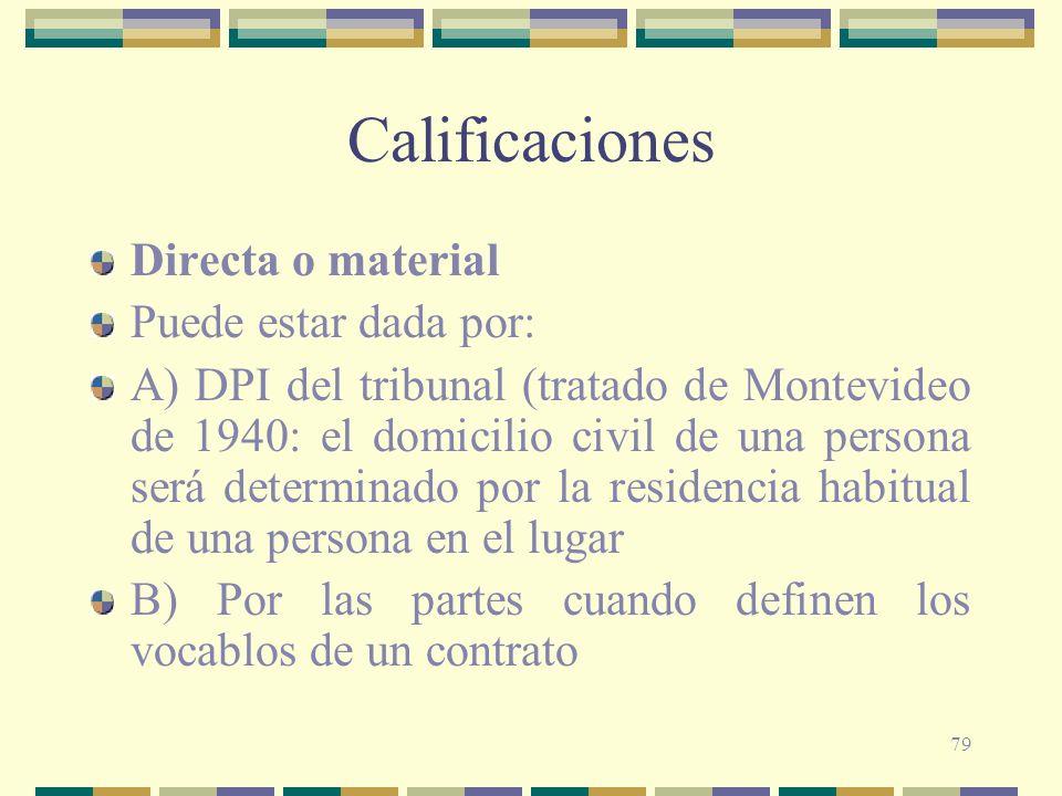 Calificaciones Directa o material Puede estar dada por: