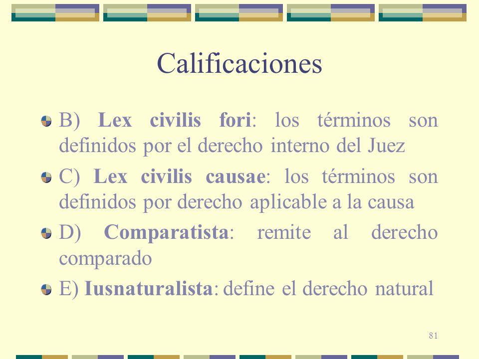 Calificaciones B) Lex civilis fori: los términos son definidos por el derecho interno del Juez.