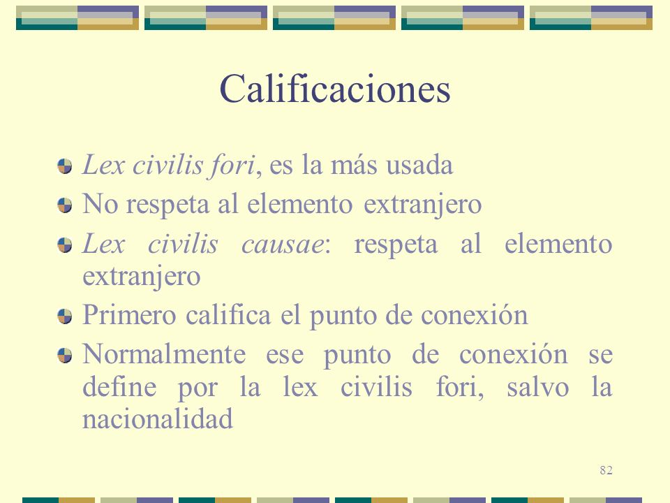 Calificaciones Lex civilis fori, es la más usada