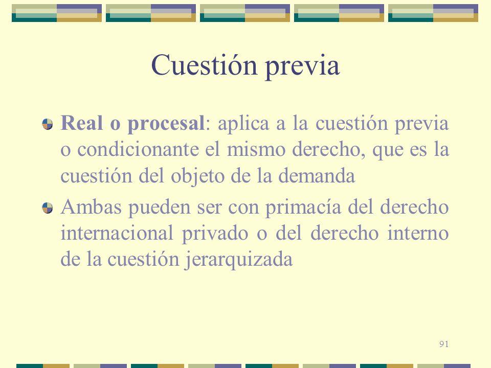 Cuestión previa Real o procesal: aplica a la cuestión previa o condicionante el mismo derecho, que es la cuestión del objeto de la demanda.