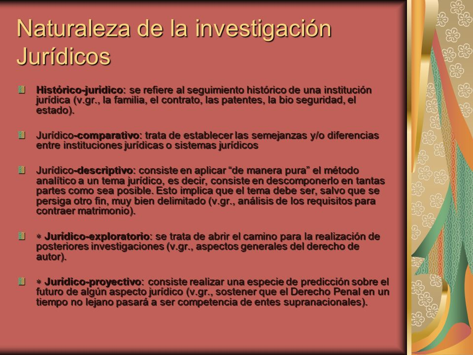 Naturaleza de la investigación Jurídicos