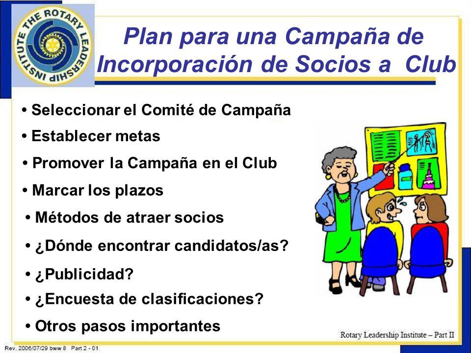 Plan para una Campaña de Incorporación de Socios a Club