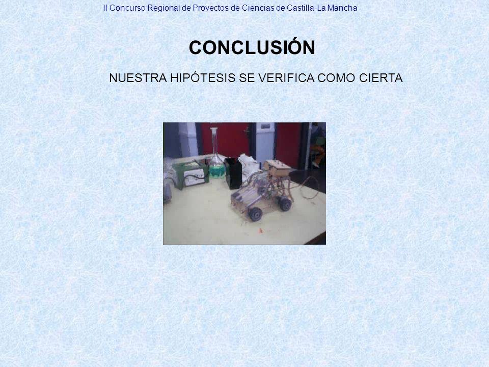 NUESTRA HIPÓTESIS SE VERIFICA COMO CIERTA
