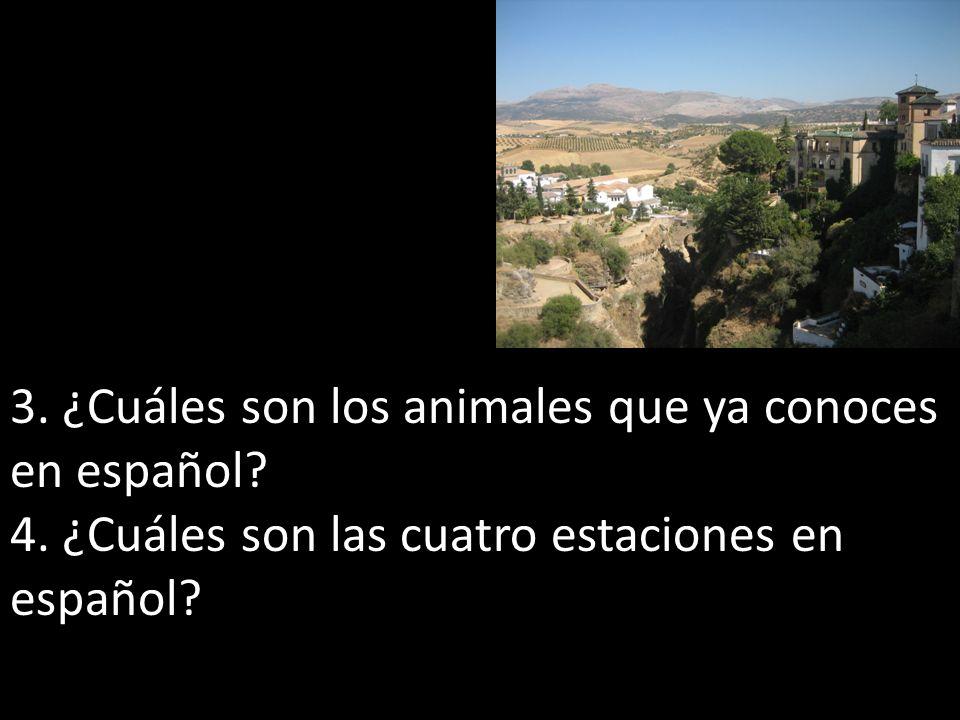 3. ¿Cuáles son los animales que ya conoces en español