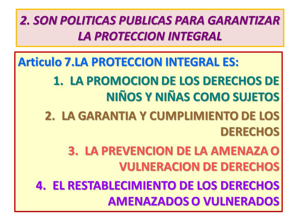 2. SON POLITICAS PUBLICAS PARA GARANTIZAR LA PROTECCION INTEGRAL