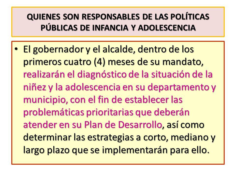 quienes son Responsables de las políticas públicas de infancia y adolescencia