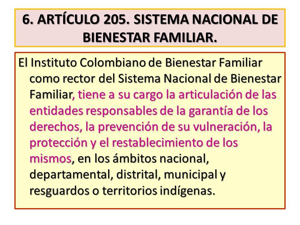 6. Artículo 205. Sistema Nacional de Bienestar Familiar.