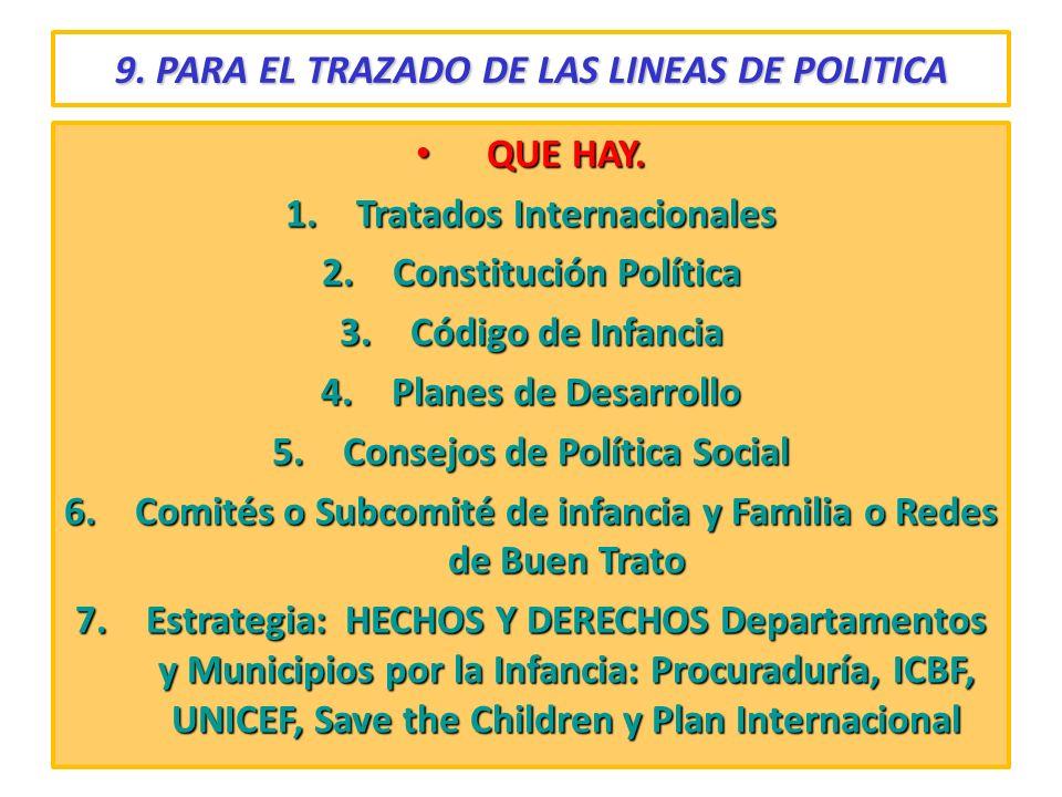 9. PARA EL TRAZADO DE LAS LINEAS DE POLITICA