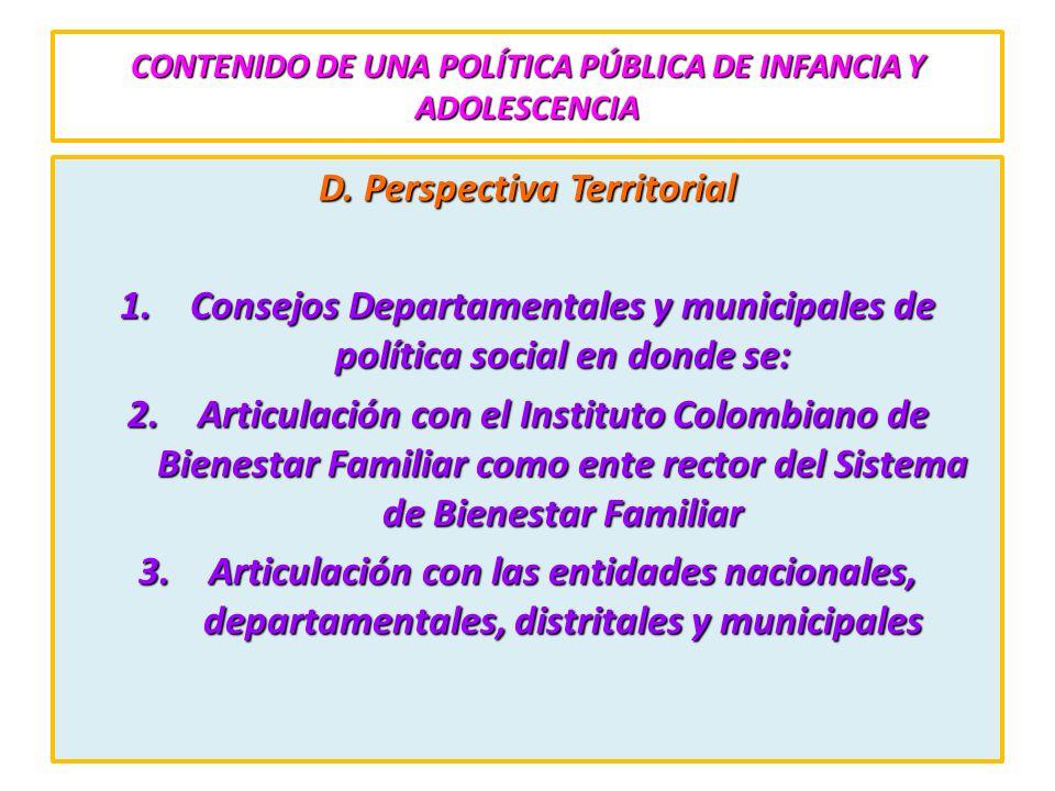 CONTENIDO DE UNA POLÍTICA PÚBLICA DE INFANCIA Y ADOLESCENCIA