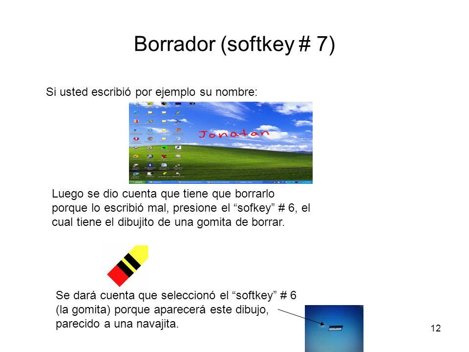 Borrador (softkey # 7) Si usted escribió por ejemplo su nombre: