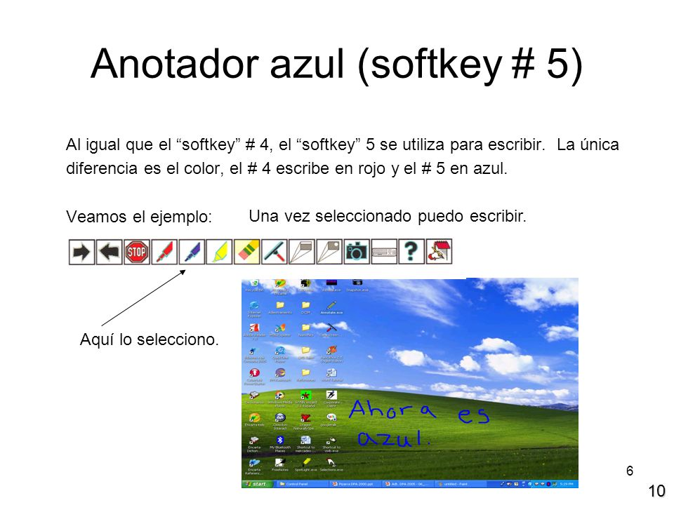 Anotador azul (softkey # 5)