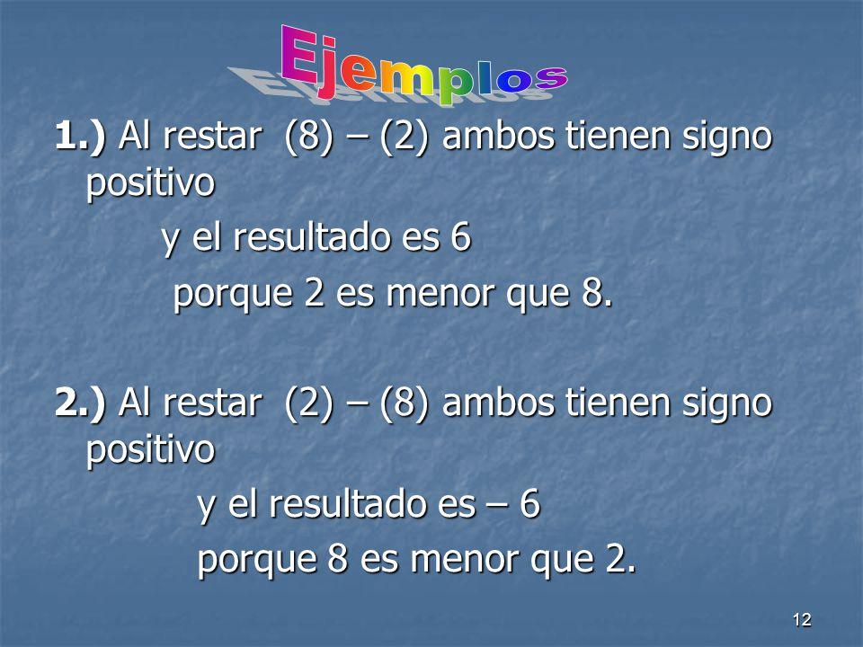 Ejemplos 1.) Al restar (8) – (2) ambos tienen signo positivo