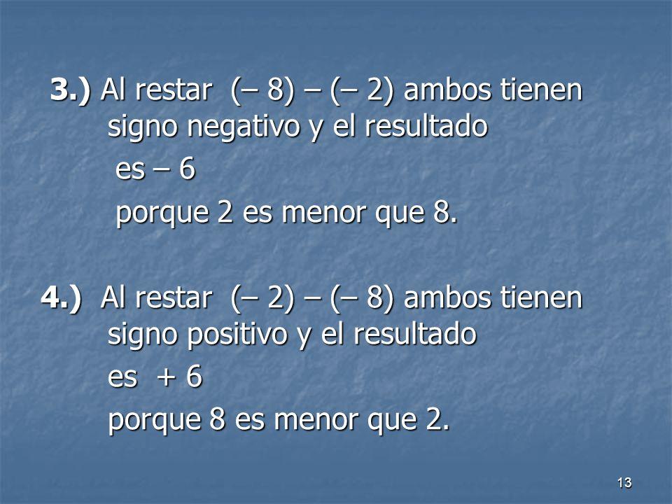 3.) Al restar (– 8) – (– 2) ambos tienen signo negativo y el resultado