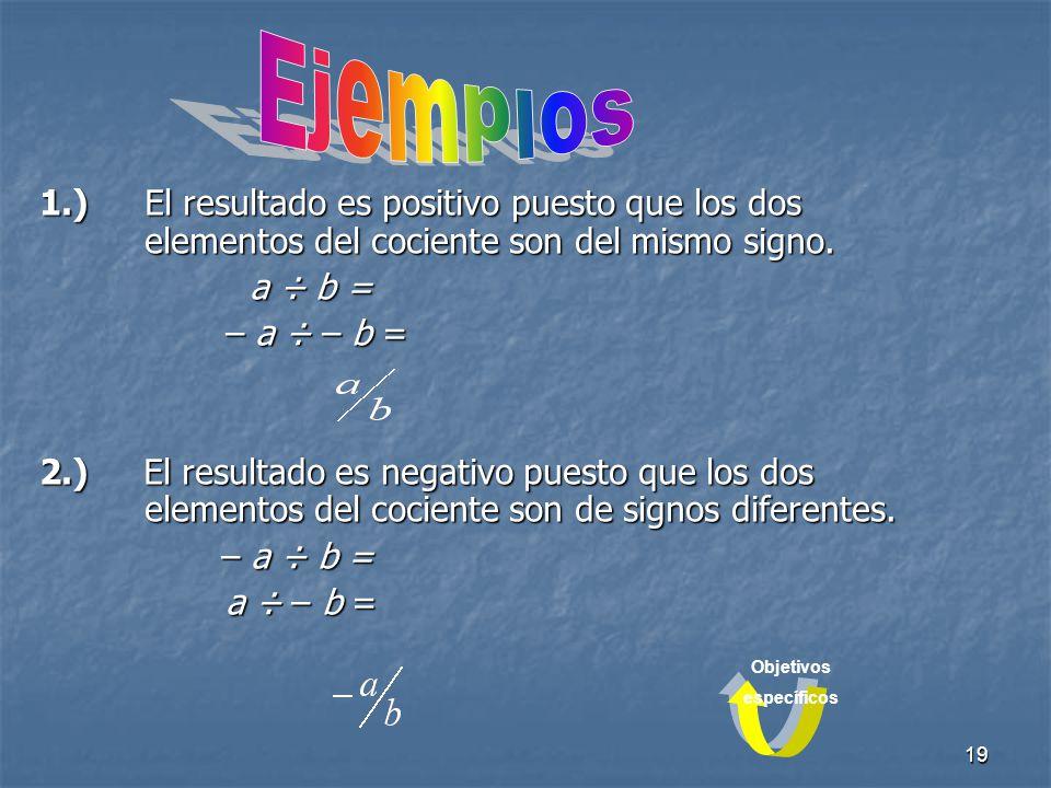 Ejemplos 1.) El resultado es positivo puesto que los dos elementos del cociente son del mismo signo.