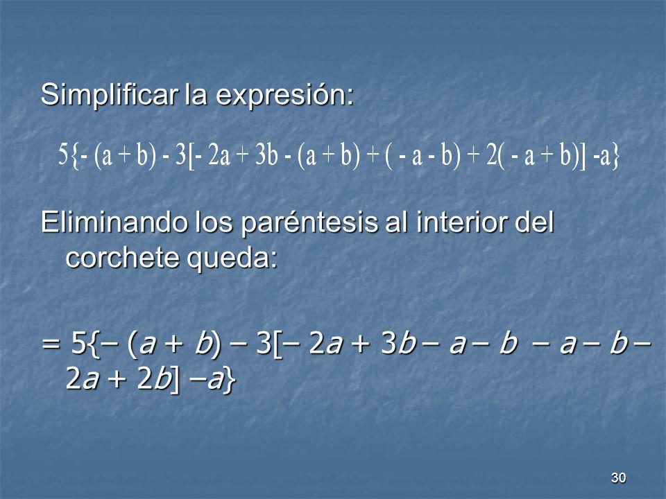Simplificar la expresión: