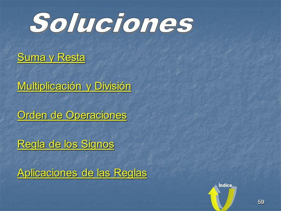 Soluciones Suma y Resta Multiplicación y División Orden de Operaciones
