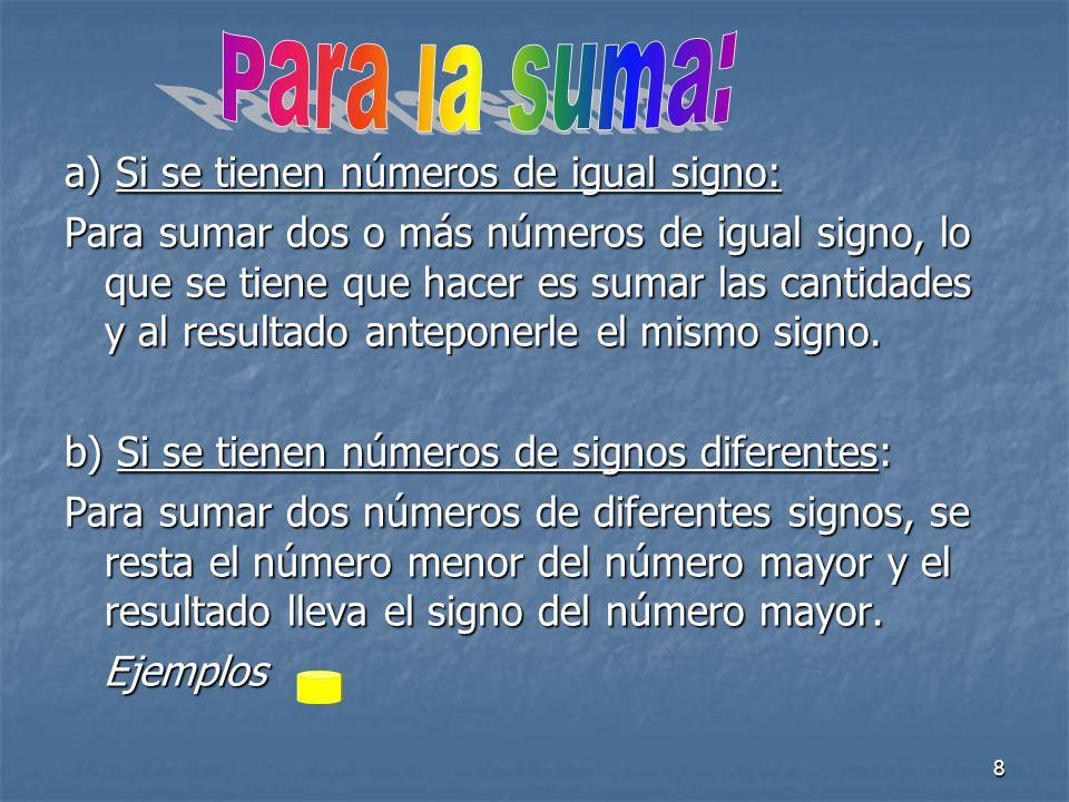 Para la suma: a) Si se tienen números de igual signo: