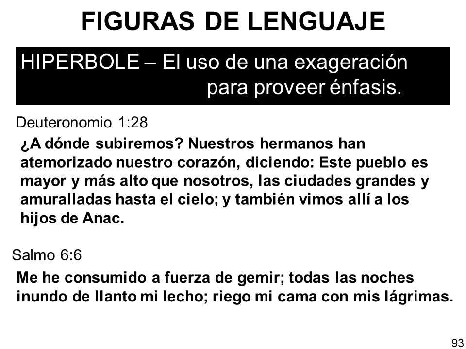 FIGURAS DE LENGUAJEHIPERBOLE – El uso de una exageración para proveer énfasis. Deuteronomio 1:28.