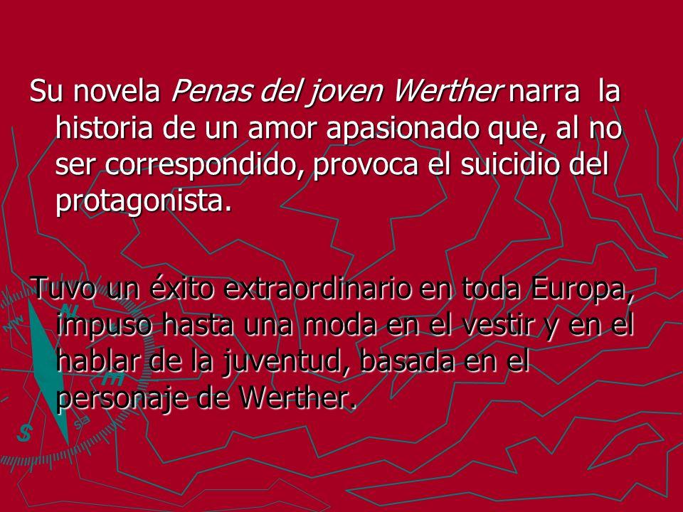 Su novela Penas del joven Werther narra la historia de un amor apasionado que, al no ser correspondido, provoca el suicidio del protagonista.