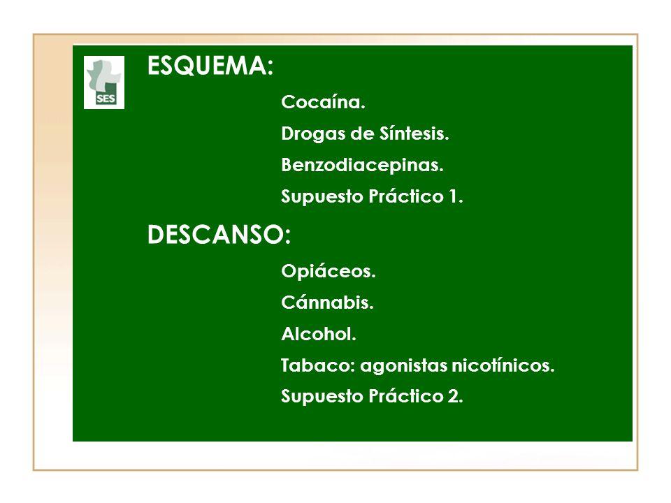 ESQUEMA: DESCANSO: Cocaína. Drogas de Síntesis. Benzodiacepinas.