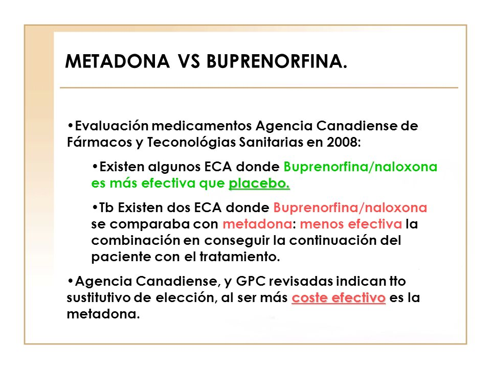 METADONA VS BUPRENORFINA.