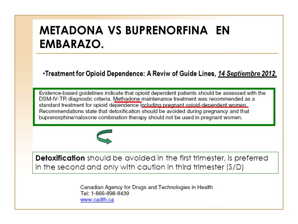 METADONA VS BUPRENORFINA EN EMBARAZO.
