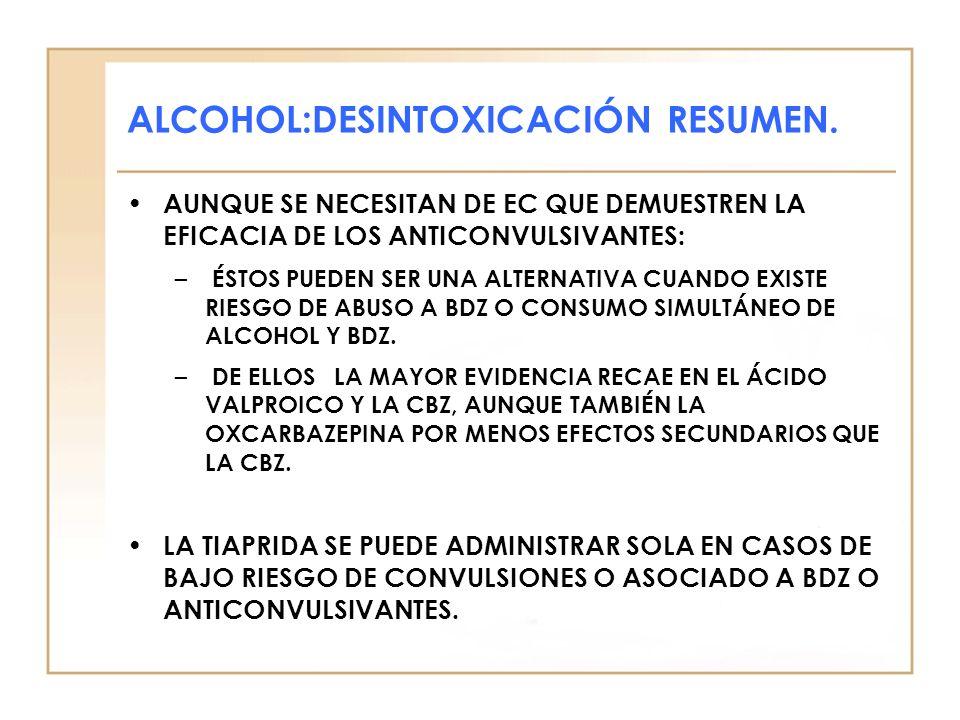 ALCOHOL:DESINTOXICACIÓN RESUMEN.