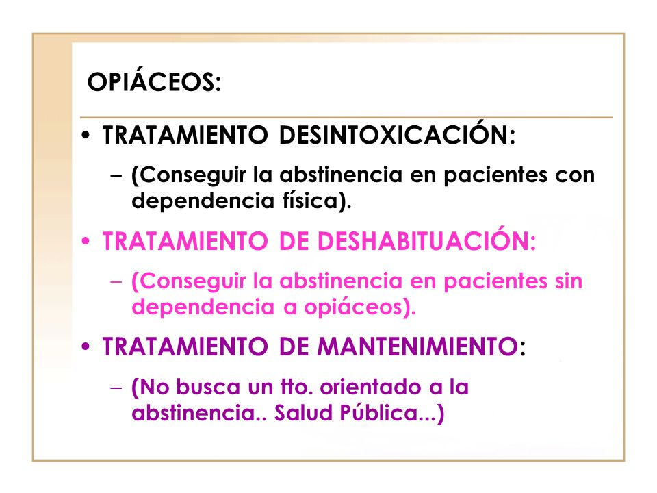 TRATAMIENTO DESINTOXICACIÓN: