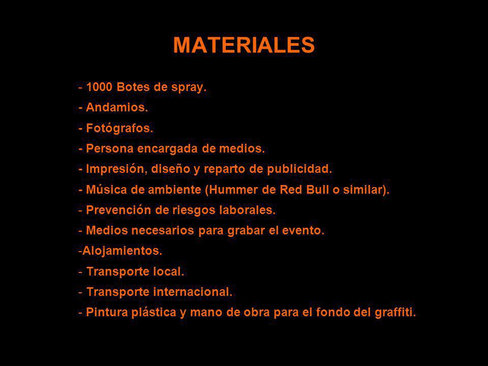 MATERIALES 1000 Botes de spray. - Andamios. - Fotógrafos.