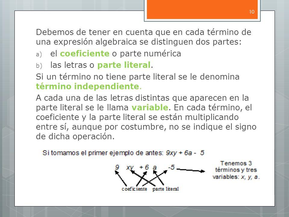 Debemos de tener en cuenta que en cada término de una expresión algebraica se distinguen dos partes: