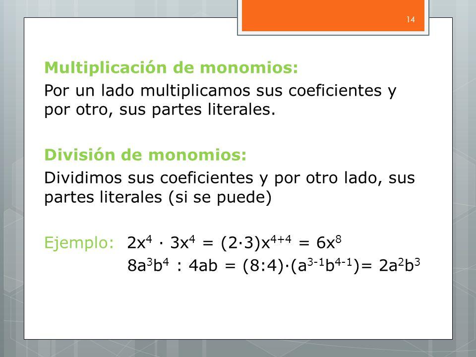 Multiplicación de monomios: Por un lado multiplicamos sus coeficientes y por otro, sus partes literales.