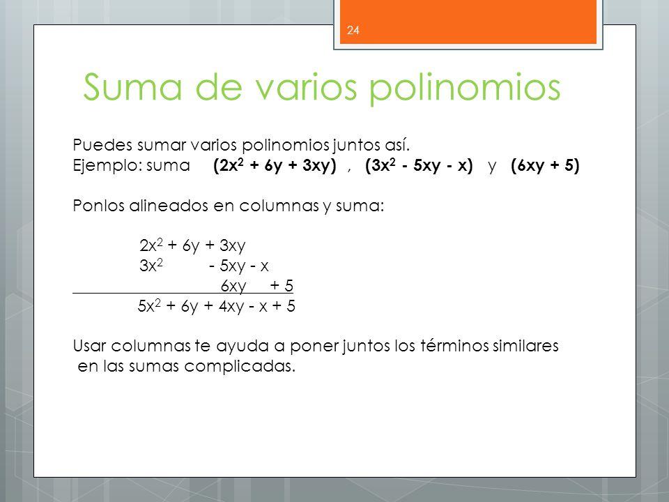 Suma de varios polinomios