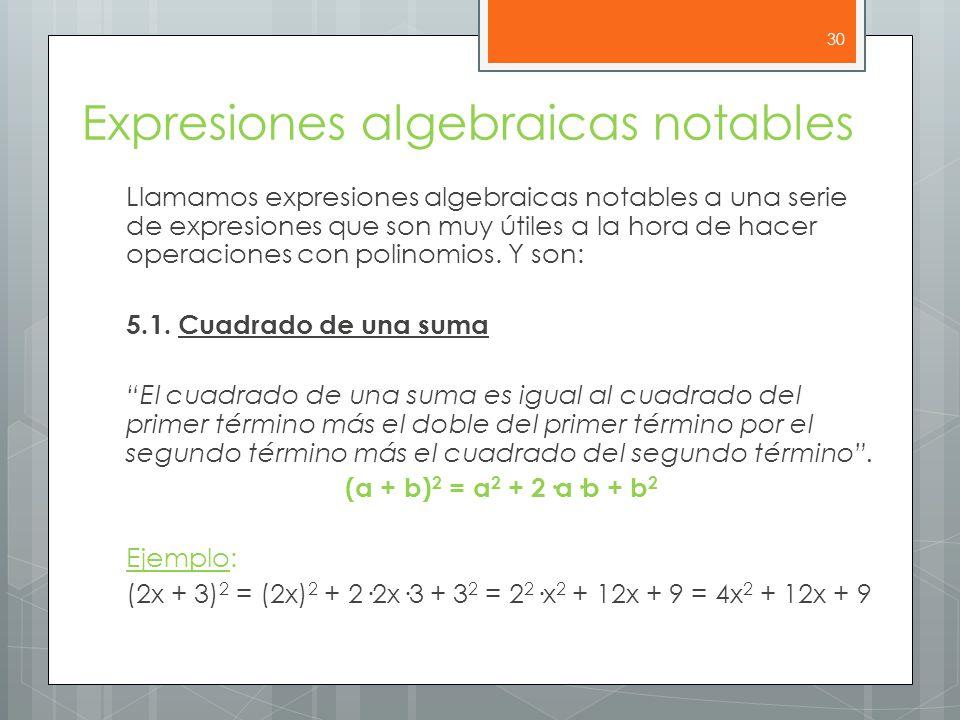 Expresiones algebraicas notables