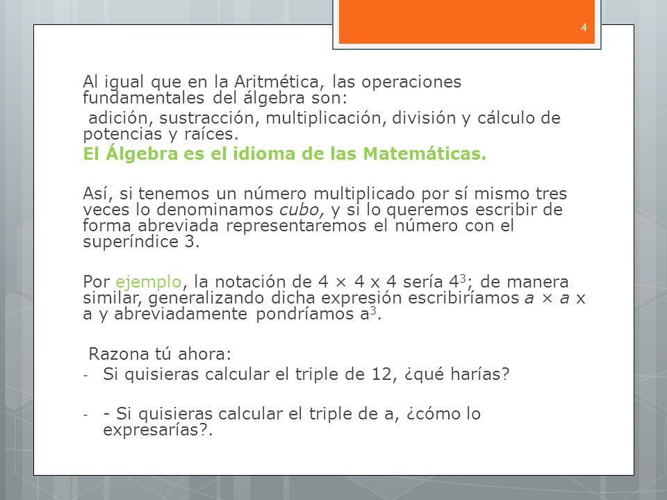 Al igual que en la Aritmética, las operaciones fundamentales del álgebra son: