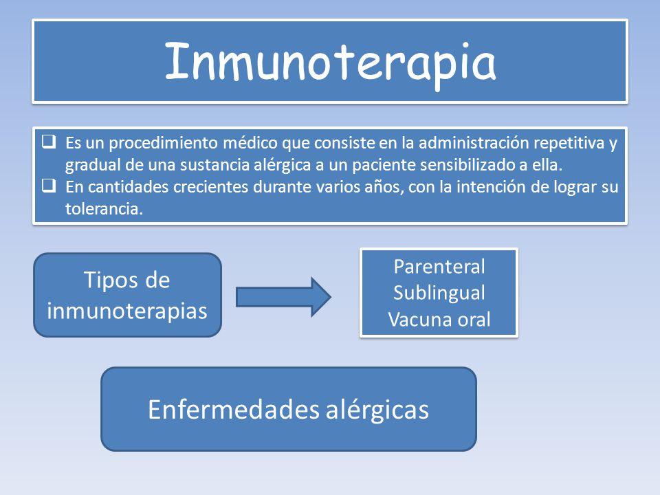 Inmunoterapia Enfermedades alérgicas Tipos de inmunoterapias