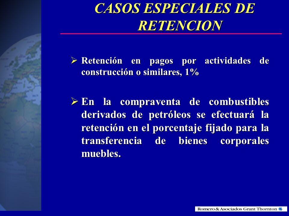 CASOS ESPECIALES DE RETENCION