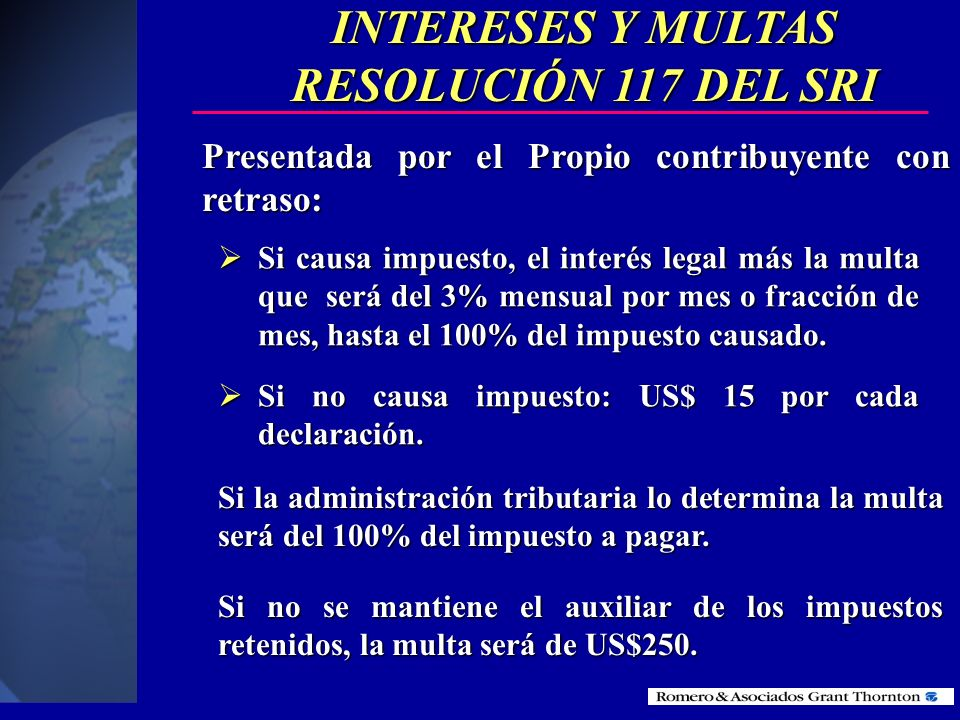 INTERESES Y MULTAS RESOLUCIÓN 117 DEL SRI
