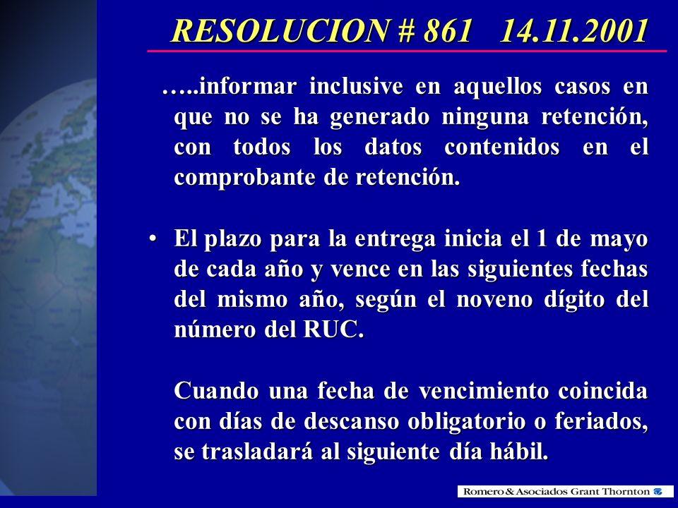 RESOLUCION # 861 14.11.2001