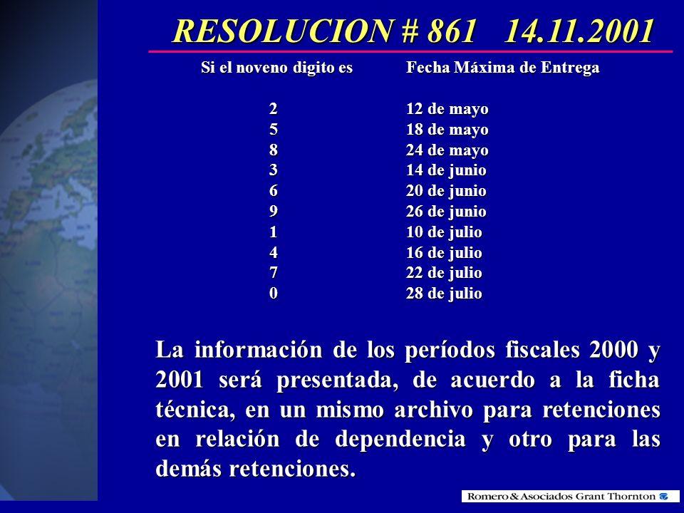RESOLUCION # 861 14.11.2001Si el noveno digito es Fecha Máxima de Entrega. 2 12 de mayo. 5 18 de mayo.