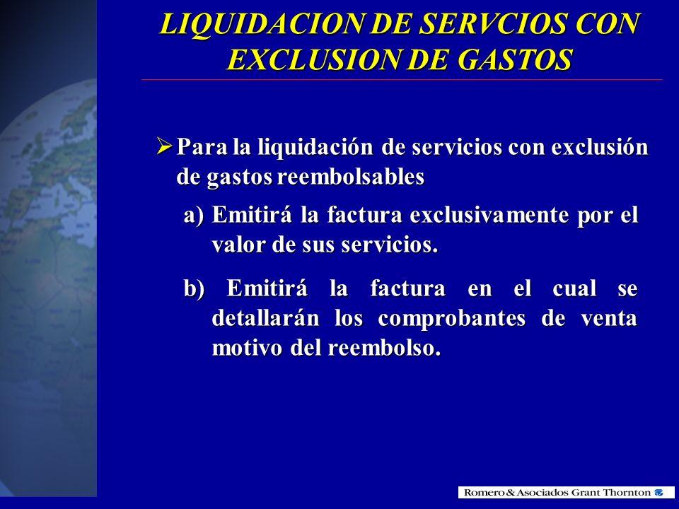 LIQUIDACION DE SERVCIOS CON EXCLUSION DE GASTOS