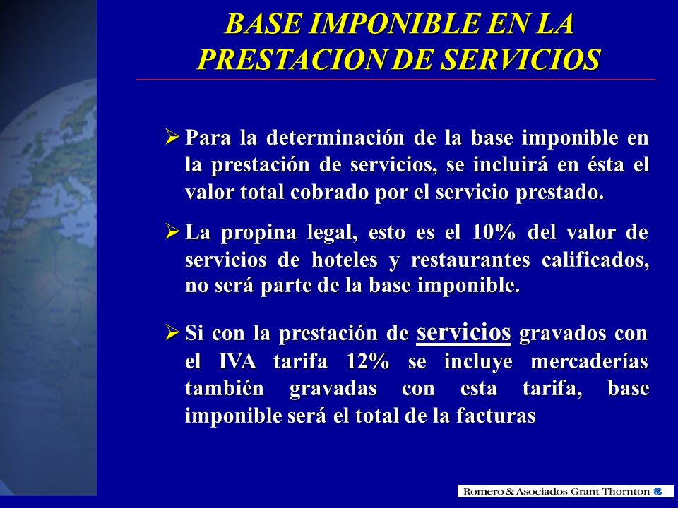 BASE IMPONIBLE EN LA PRESTACION DE SERVICIOS
