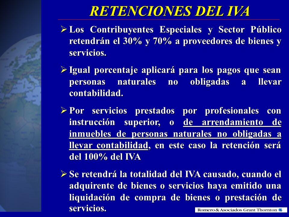 RETENCIONES DEL IVALos Contribuyentes Especiales y Sector Público retendrán el 30% y 70% a proveedores de bienes y servicios.