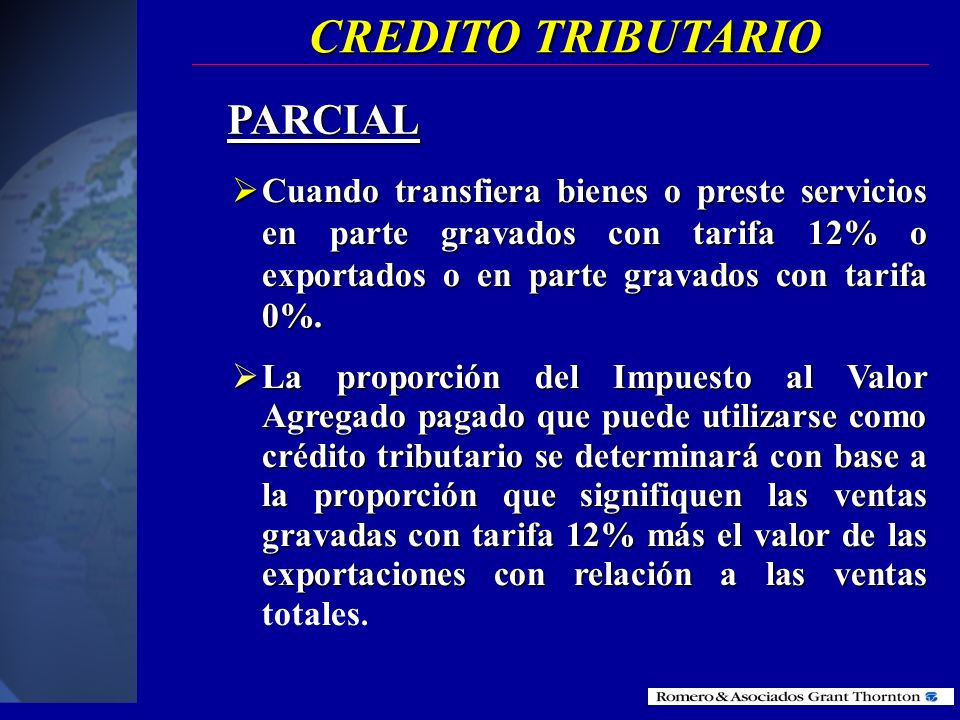 CREDITO TRIBUTARIO PARCIAL