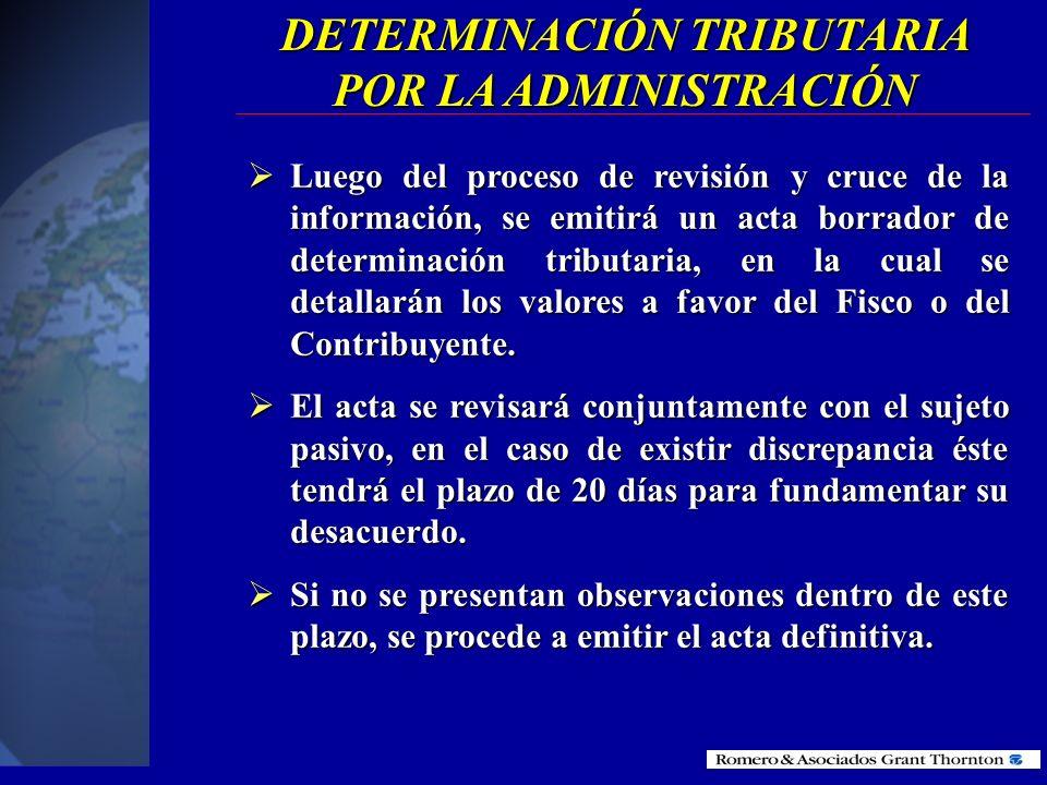 DETERMINACIÓN TRIBUTARIA POR LA ADMINISTRACIÓN