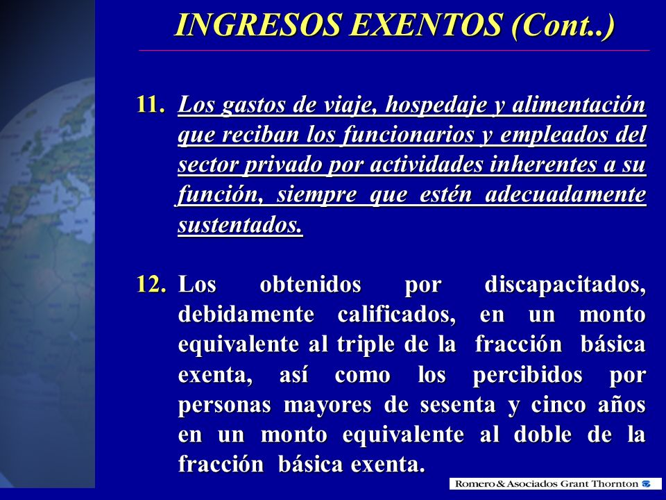 INGRESOS EXENTOS (Cont..)