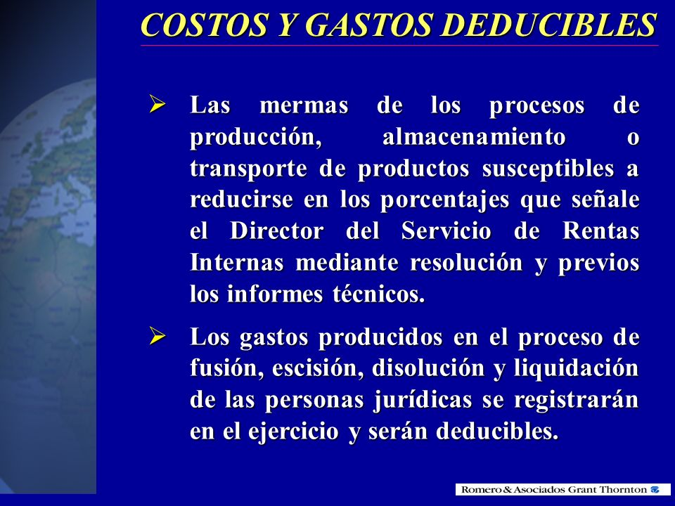 COSTOS Y GASTOS DEDUCIBLES