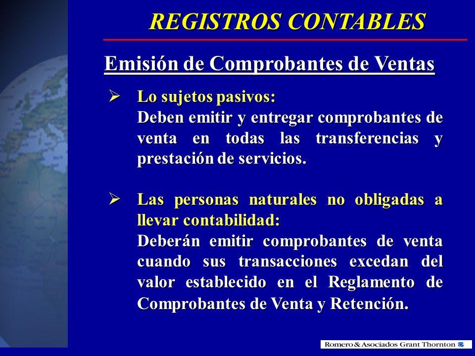 REGISTROS CONTABLES Emisión de Comprobantes de Ventas
